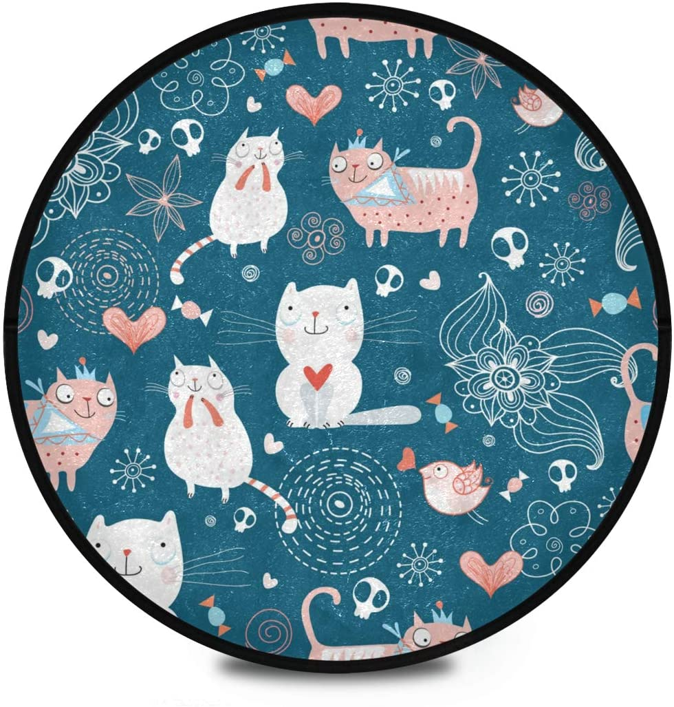 Shaggy Round Mat Cute Animals Round Area Rug for Kids Playroom Anti-Slip Rug Room Carpets Play Mat