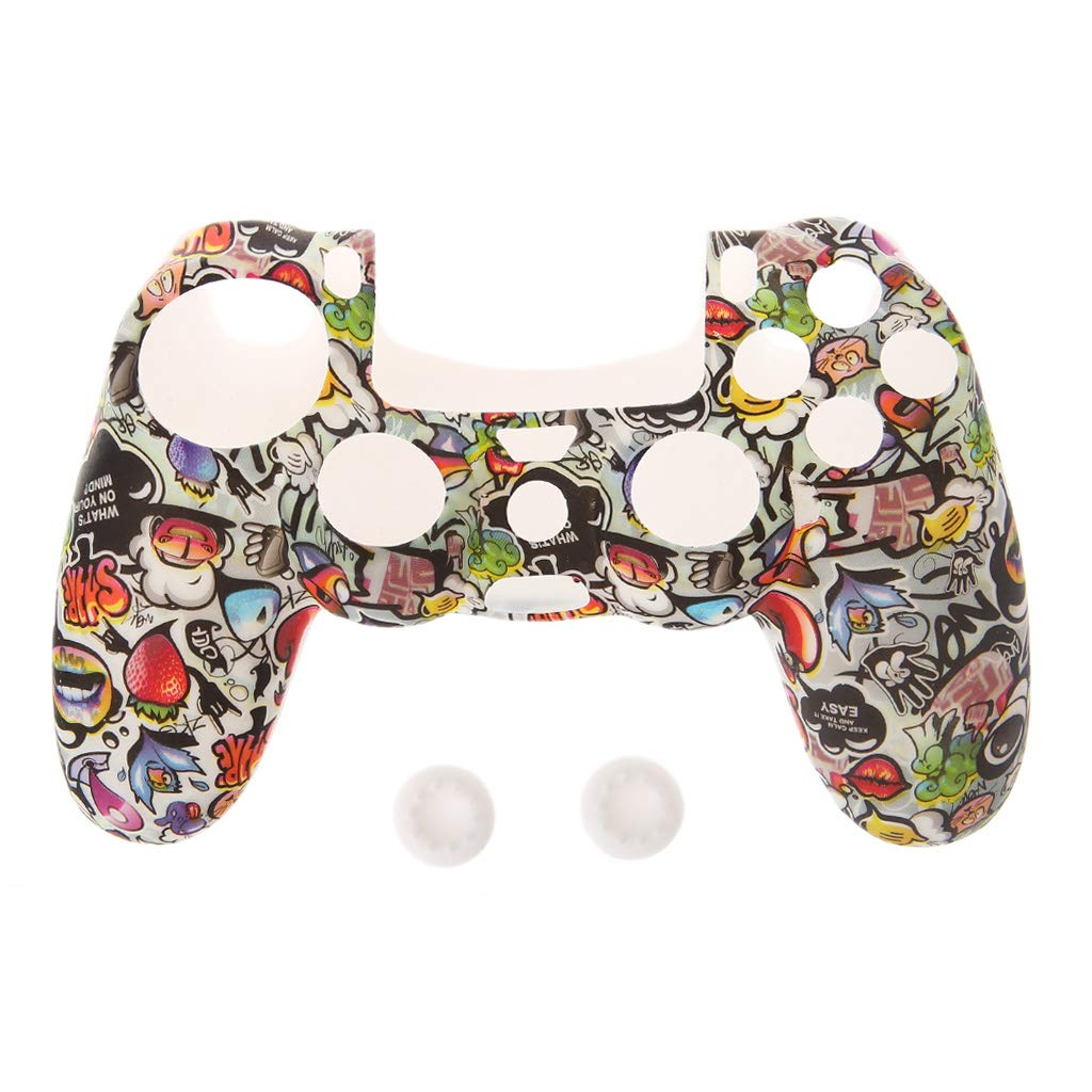 Yumoo Gamepad For PS4 Controller Skin Silicone Sleeve Guards + 2 Grip Caps