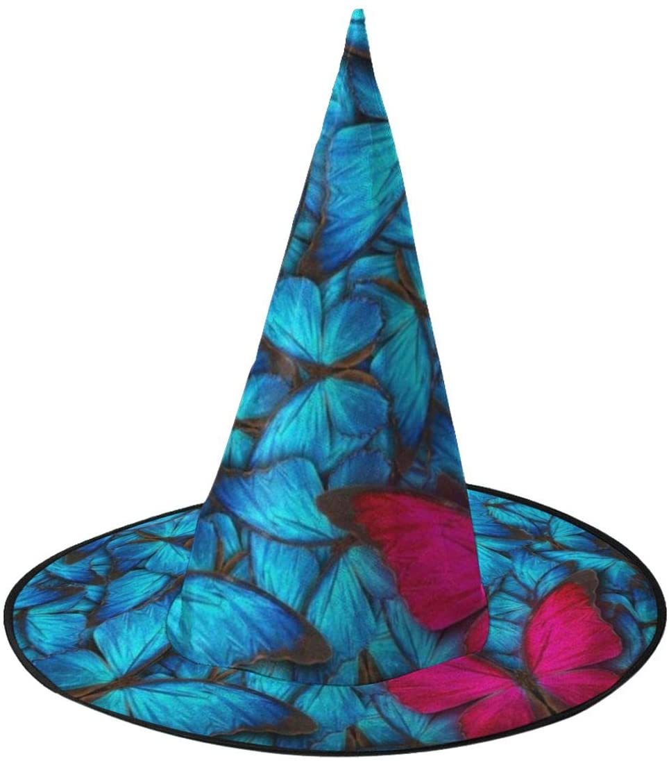 Halloween Witch Hat,Butterfly Blue Witch Costume Accessory for Halloween Christmas Party
