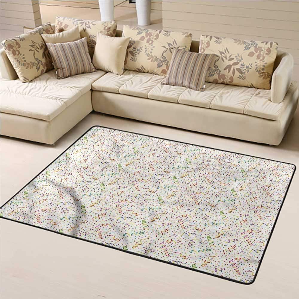 Carpet Birthday, Fun Occasion Confetti Kids Carpet Extra Large Decorative Footcloth/Floor Cover/Play Mat 3 x 5 Feet