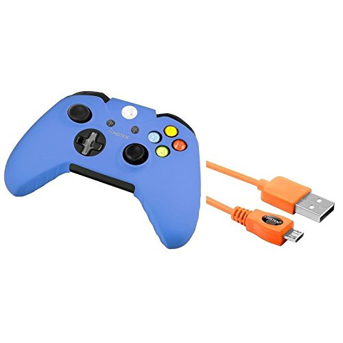 Orange 10FT Micro USB Data Cable Charger+Blue Skin Case for Microsoft xBox One