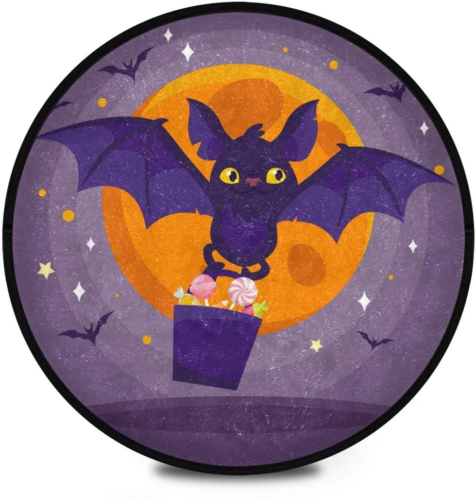 Halloween Shaggy Round Mat Moon Bats Happy Halloween Bedroom Carpet for Kids Bedroom Anti-Slip Rug Room Carpets Play Mat