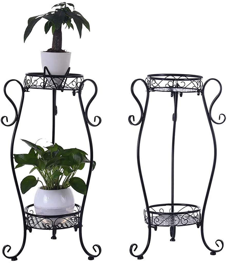 Shimigy 2-Tier Metal Plant Stand Planter Rack Flower Pots Holder Disply Rack
