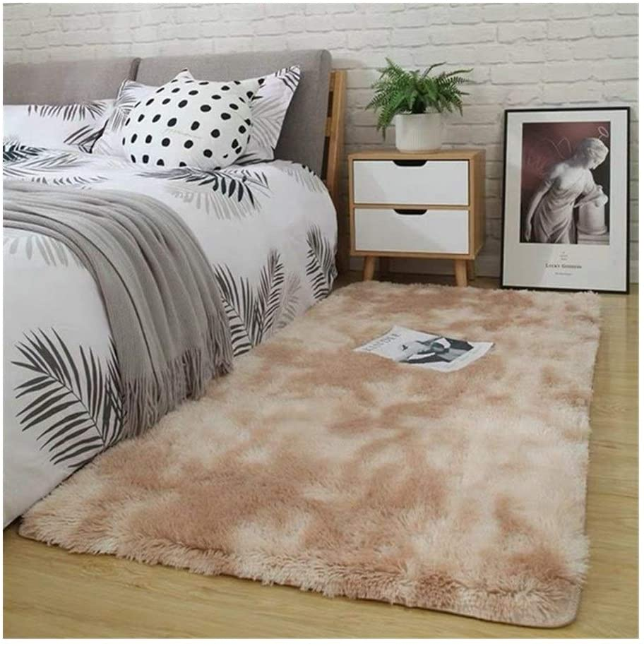 HNXYZXHYC Geometric Dyeing Fashion Plush Non-Slip Carpet, Can Be Used in Living Room, Bedroom Or Children's Room (Color : Camel, Size : 120x200cm)