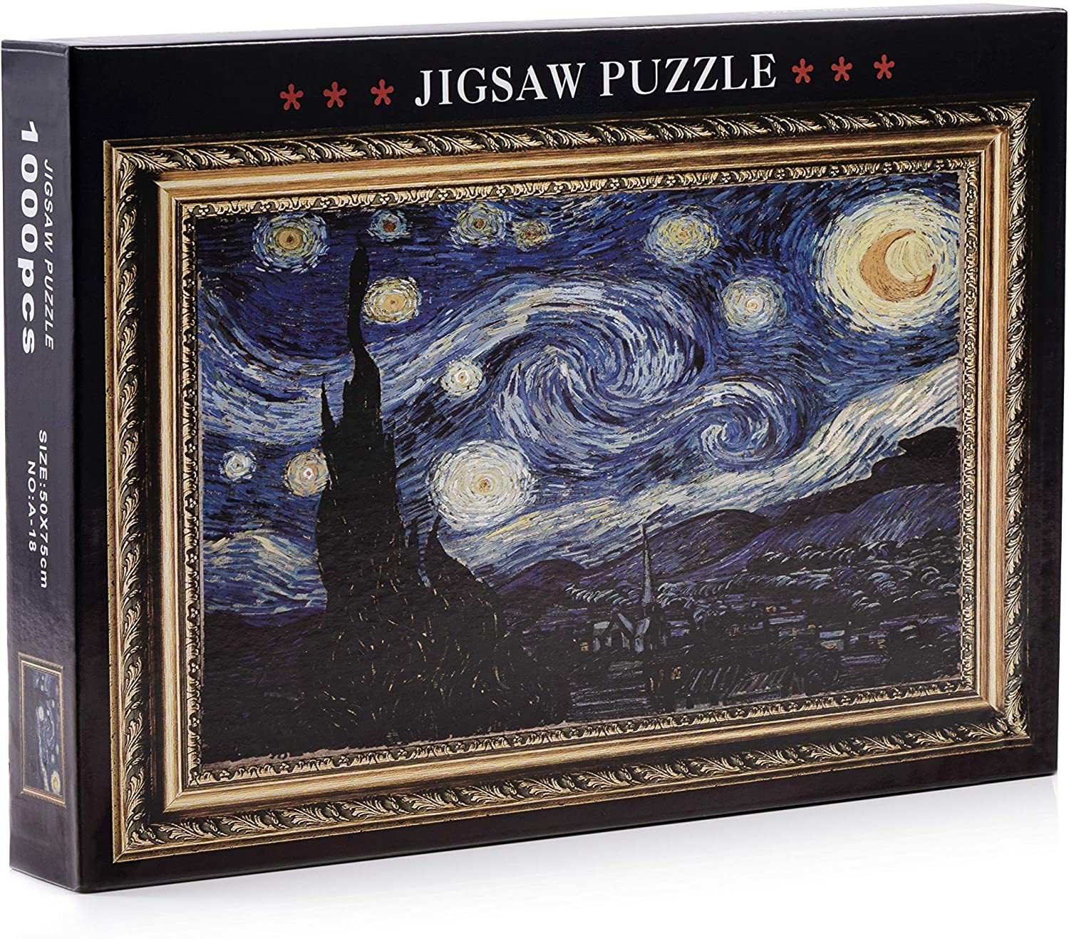 1000 Piece Puzzle for Adults and Kids – Van Gogh Starry Night - Landscape Art Home Decor Painting Jigsaw Puzzles – Novelty Games Toys for Family