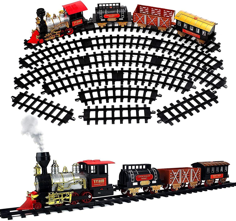 ECCRIS Christmas Train Set for Kids Railway Track with Light, Sound and Smoke