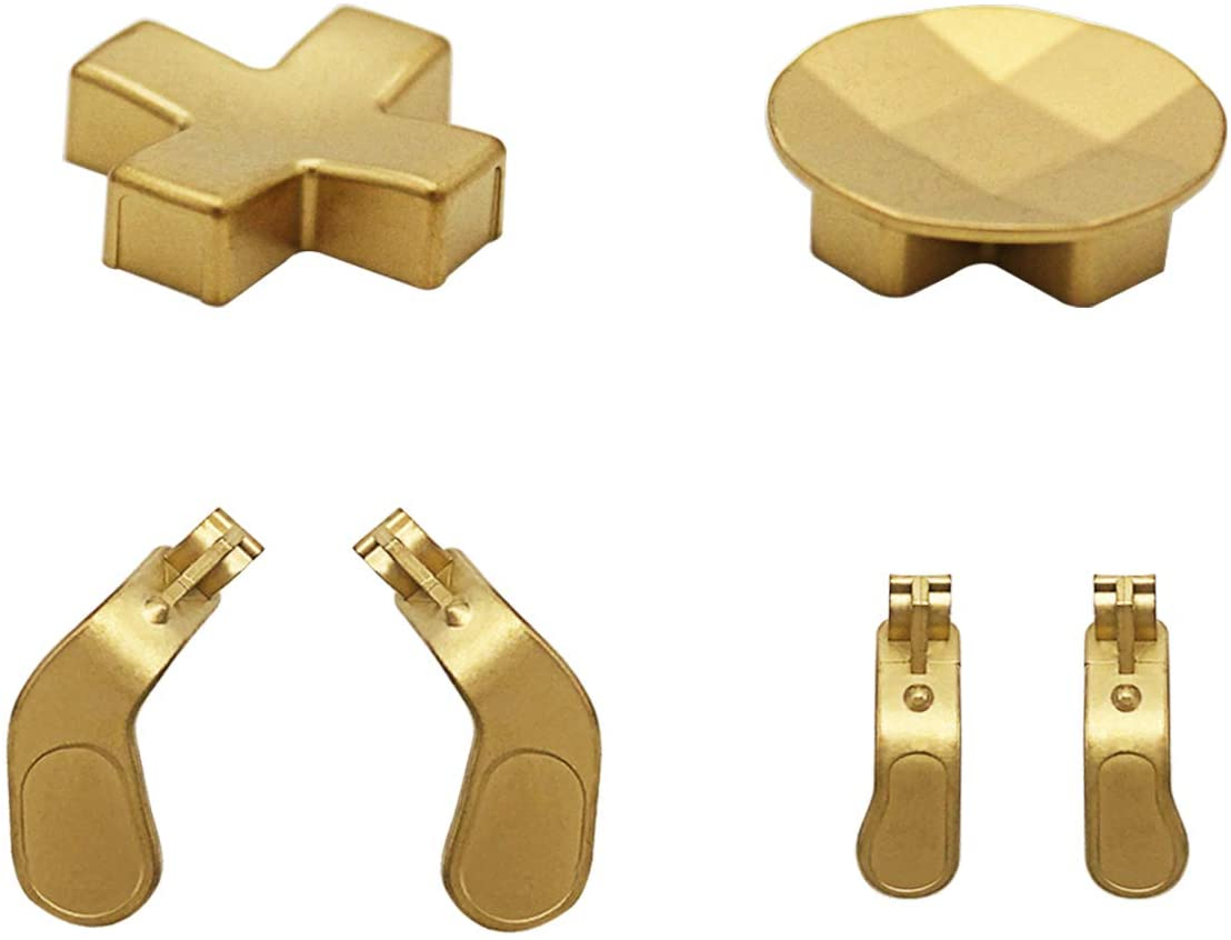 4 Pcs Interchangeable Paddles and 2 D-Pads Metal Stainless Steel Replacement Parts for Xbox One Elite Series 2 Controller & Xbox One Elite Controller (Gold)