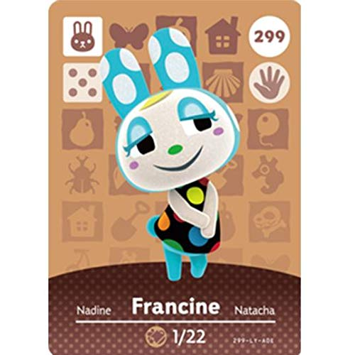 BestTom No.299 Francine ACNH Animal Villager Card Fan Made.Third Party NFC Card Bank Card Size Water Resistant for Switch/Switch Lite/Wii U