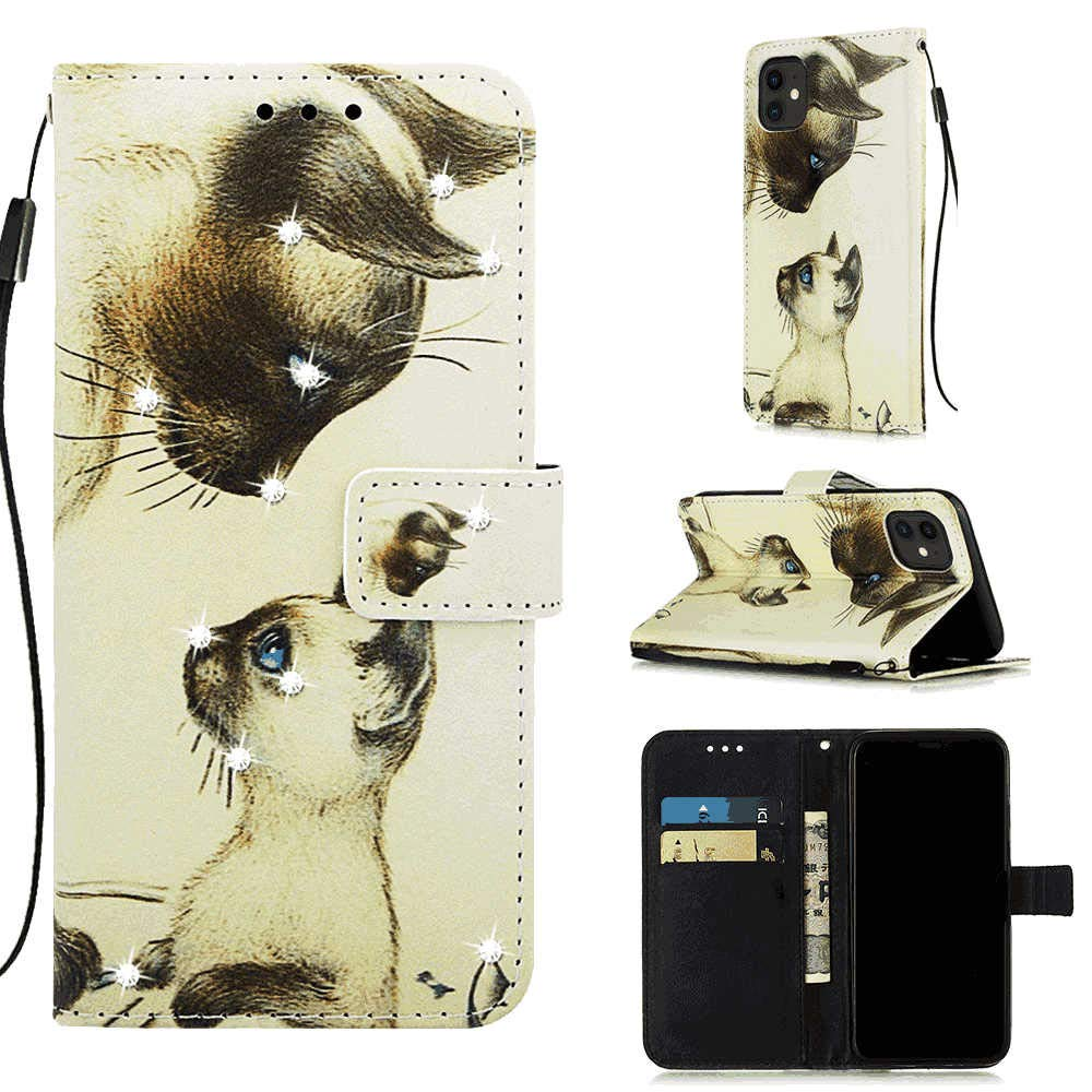 PU Leather Flip Cover Compatible with iPhone 11 Pro, cat Wallet Case for iPhone 11 Pro