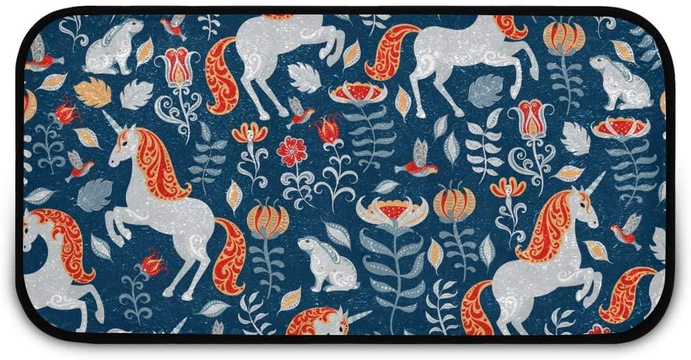 Rectangle Shaggy Rug Kitchen Mat for Kids Watercolor Animal Front Door Anti-Slip Rug Rectangle Carpet Play Mat