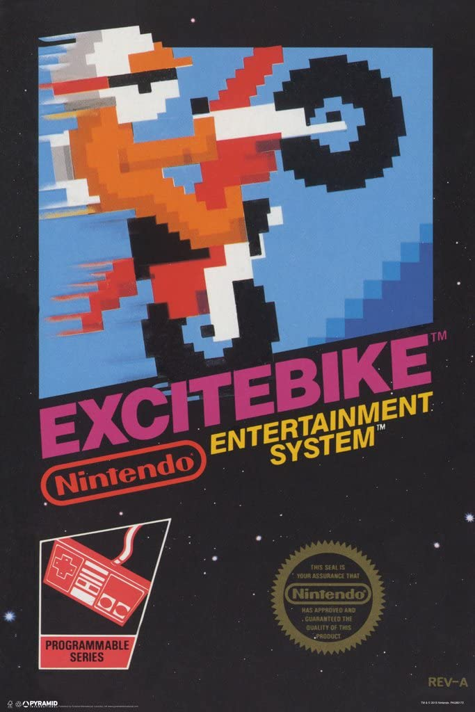 Pyramid America Excitebike Nintendo NES Motorcross Motor Cycle Racing Video Game Cover Box Cool Wall Decor Art Print Poster 12x18