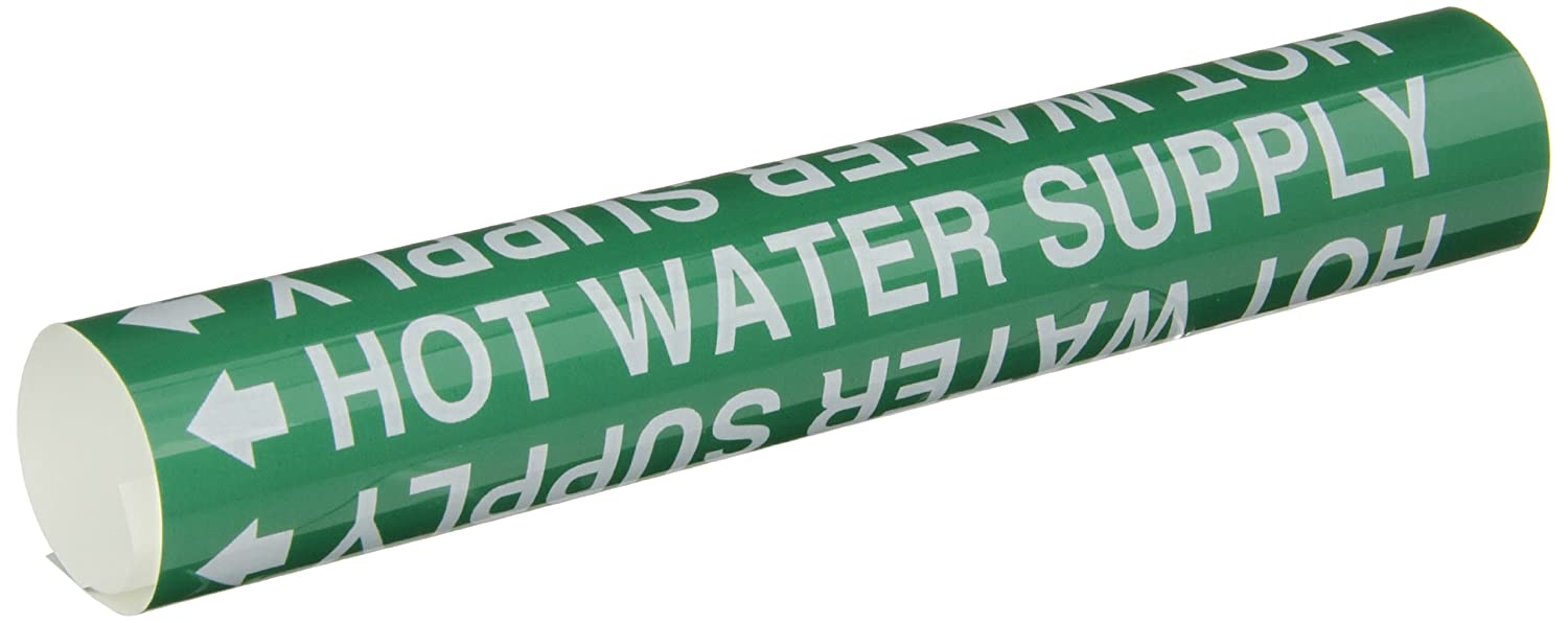 Brady 5832-O High Performance - Wrap Around Pipe Marker, B-689, White On Green Pvf Over-Laminated Polyester, Legend