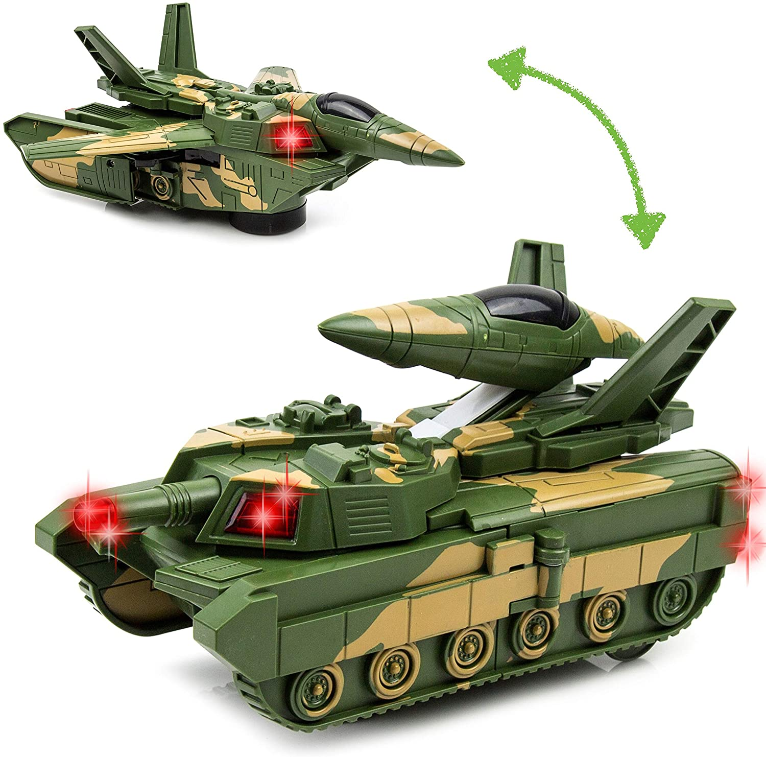 Toytykes Electric Deformation Combat Tank Material Comes with Lights and Music Automatically Transforms from The Tank to Robot Brain Development Ultimate Fun for Kids