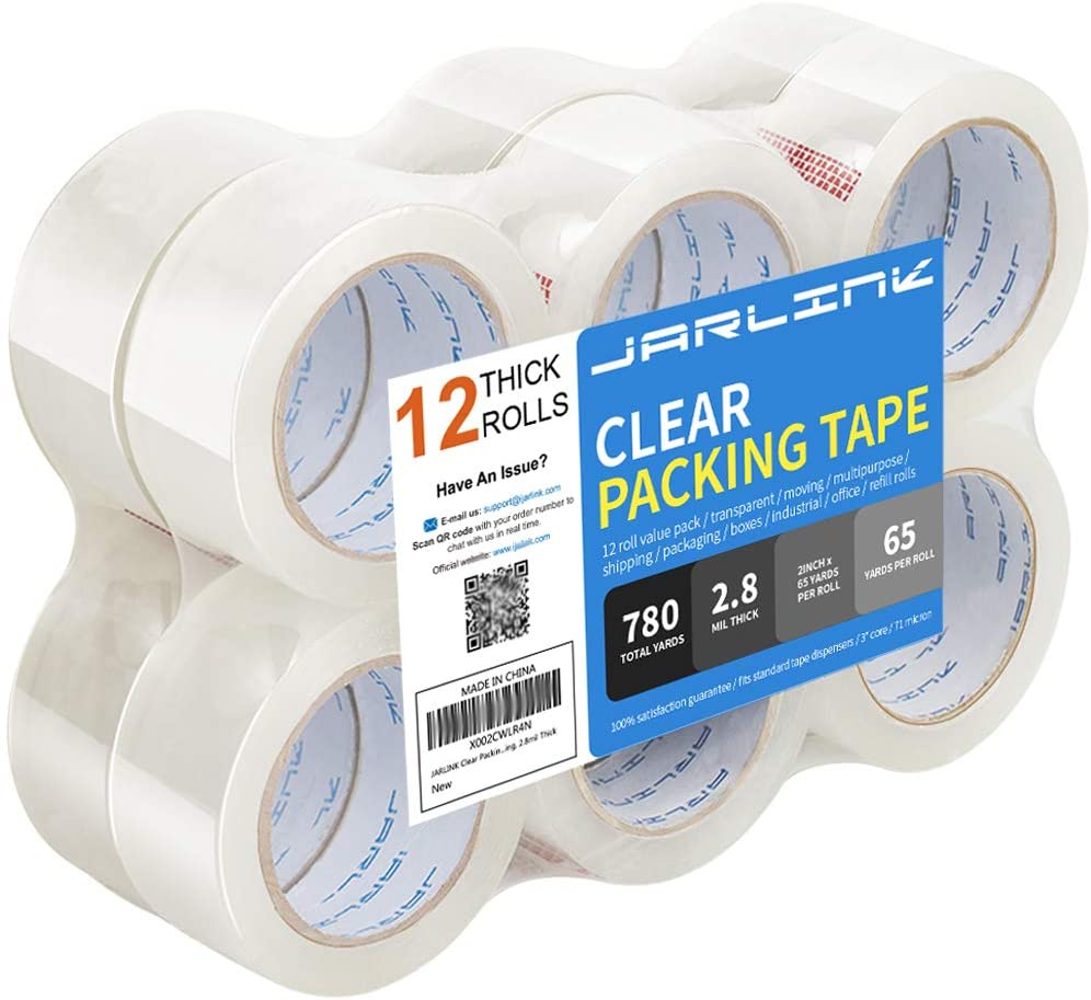 JARLINK Clear Packing Tape (12 Rolls), Heavy Duty Packaging Tape for Shipping Packaging Moving Sealing, Stronger & Thicker 2.8mil, 2 inches Wide, 65 Yards Per Roll, 780 Total Yards