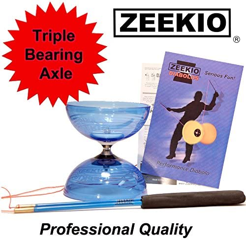 Zeekio Crystal Series Master Spin Diabolo Set- Triple Bearing, Fiberglass Sticks and String (Blue)