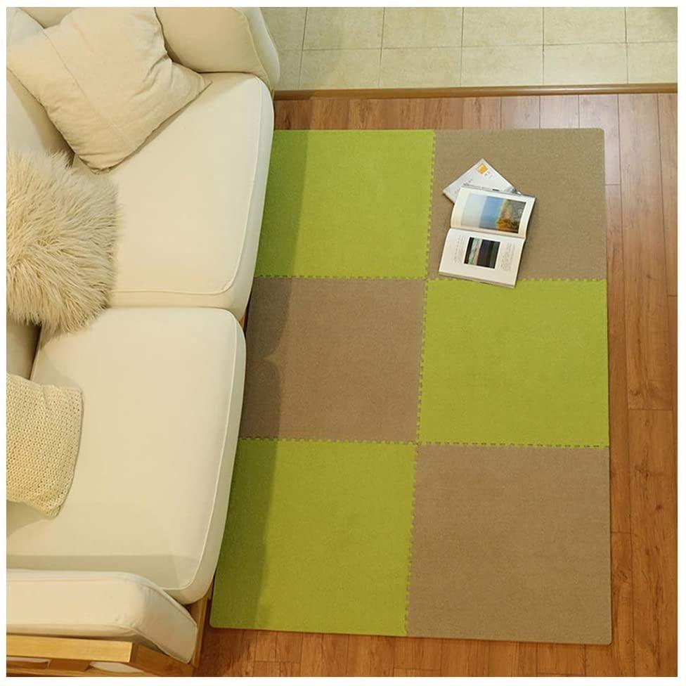 KFDQ Spliced Carpets,Carpet Floor Mat Puzzle Non-Slip Moisture Proof Can Be Cut Splicing Mats Living Room Study Room Gaming Room Use, 30X30X1Cmpcs 2 Styles,a,6Pcs