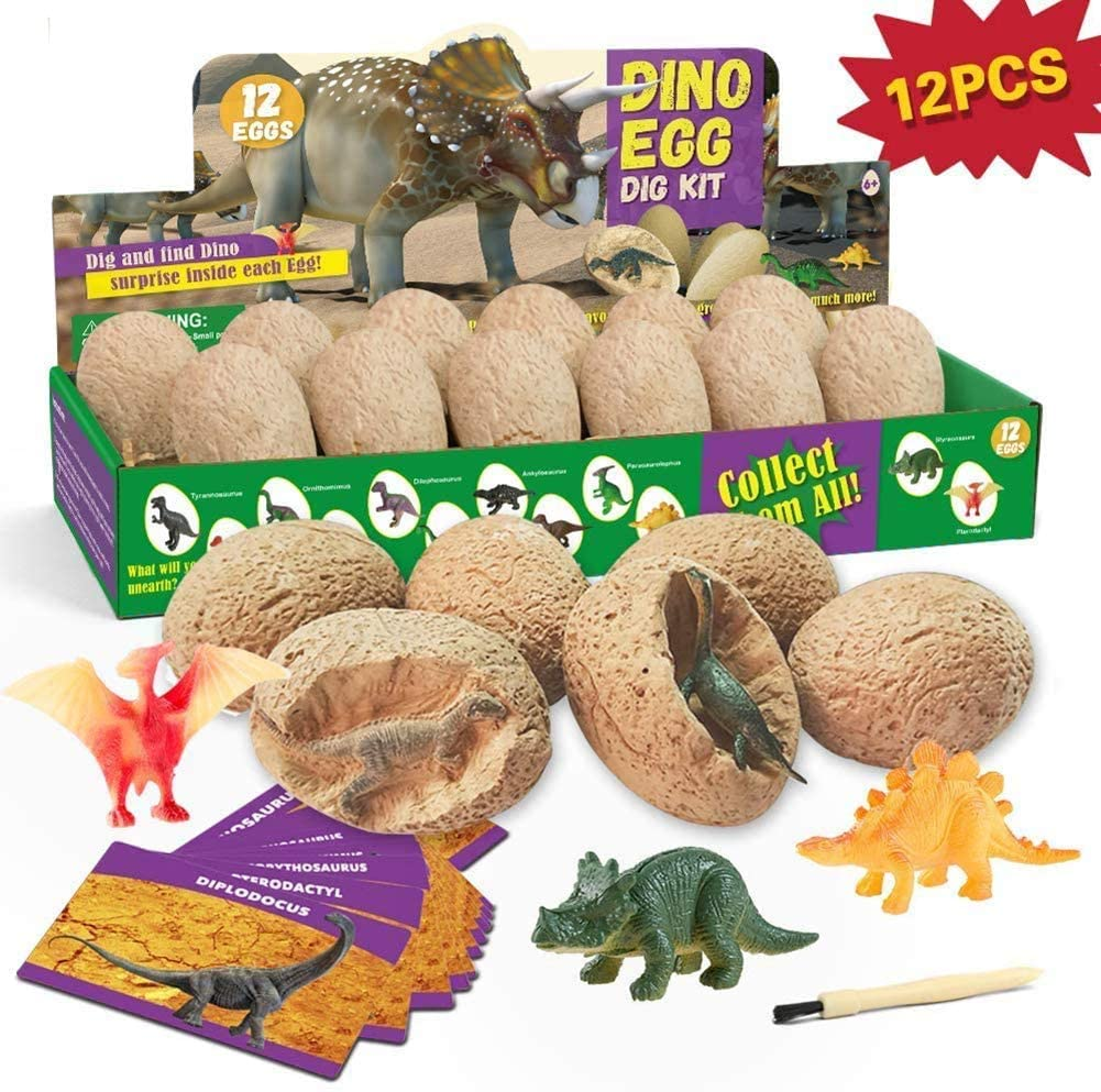 HGYYIO Dinosaur Dig Kit 12 Dinosaurs Egg Dinosaur Excavation Kits 12 Excavation Tool Sets, Archaeology Toys Great Toy for Boys and Girls