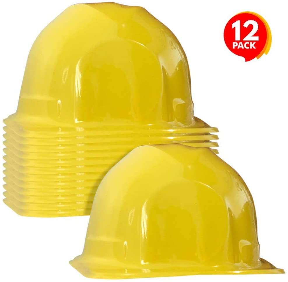 ArtCreativity Construction Hats for Kids - Pack of 12 Yellow Plastic Hats - Construction Theme Birthday Party Supplies and Favors, Construction Costume Safety Helmet for Boys and Girls