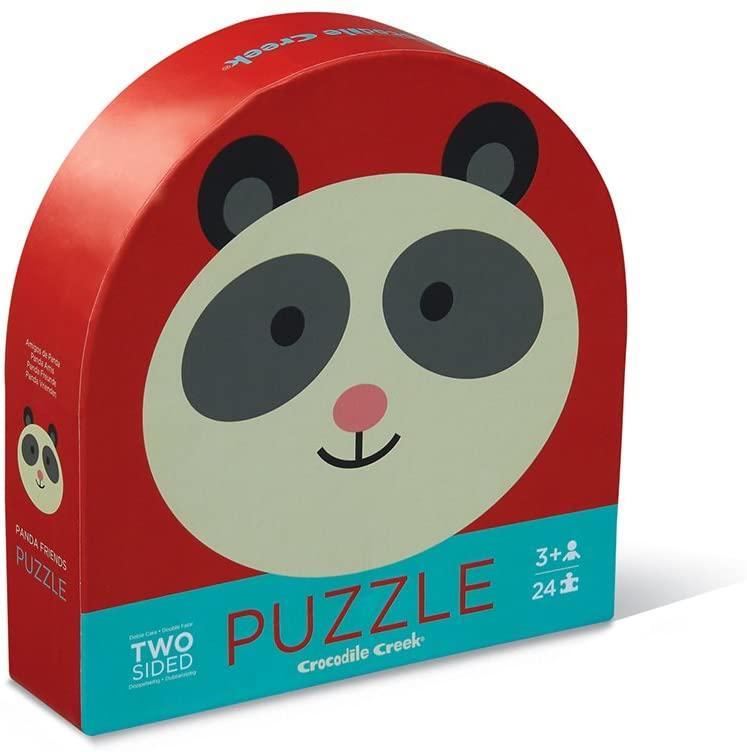 Crocodile Creek 4130-3 Two-Sided Panda Jungle Round Puzzle (24 Piece), Red/Blue/Purple/Orange/Yellow