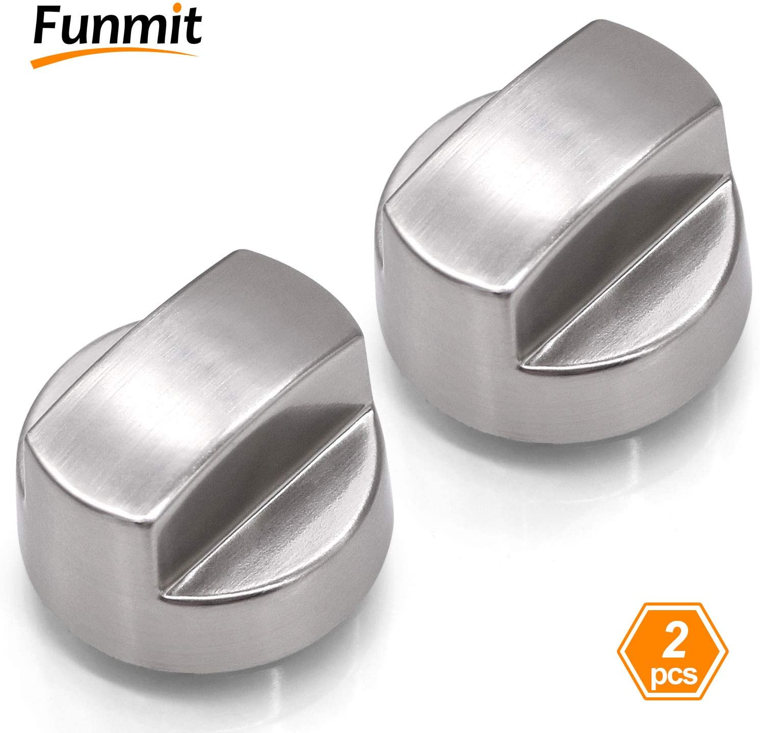 Funmit 811195 Pro Ventilation Hood Knob 805328 KIP5D44 5D4 Replacement for Sub-Zero Wolf in Silver with 2-Pack