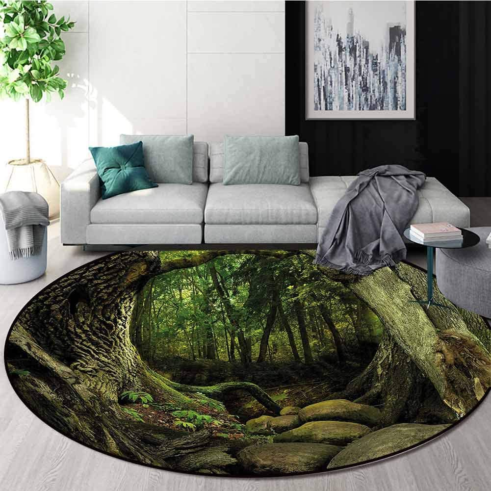 RUGSMAT Nature Modern Machine Washable Round Bath Mat,Mystic Woodland Moss Trees Circular Area Rugs for Kids Bedroom Round-51