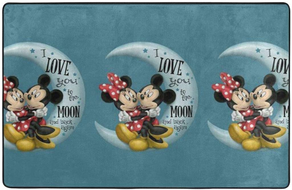 Large Soft Flannel Area Rug Anti- Skid Love Mickey & Minnie Carpet Bedroom Kids Room Mat Home Decor- 60 X 39 in