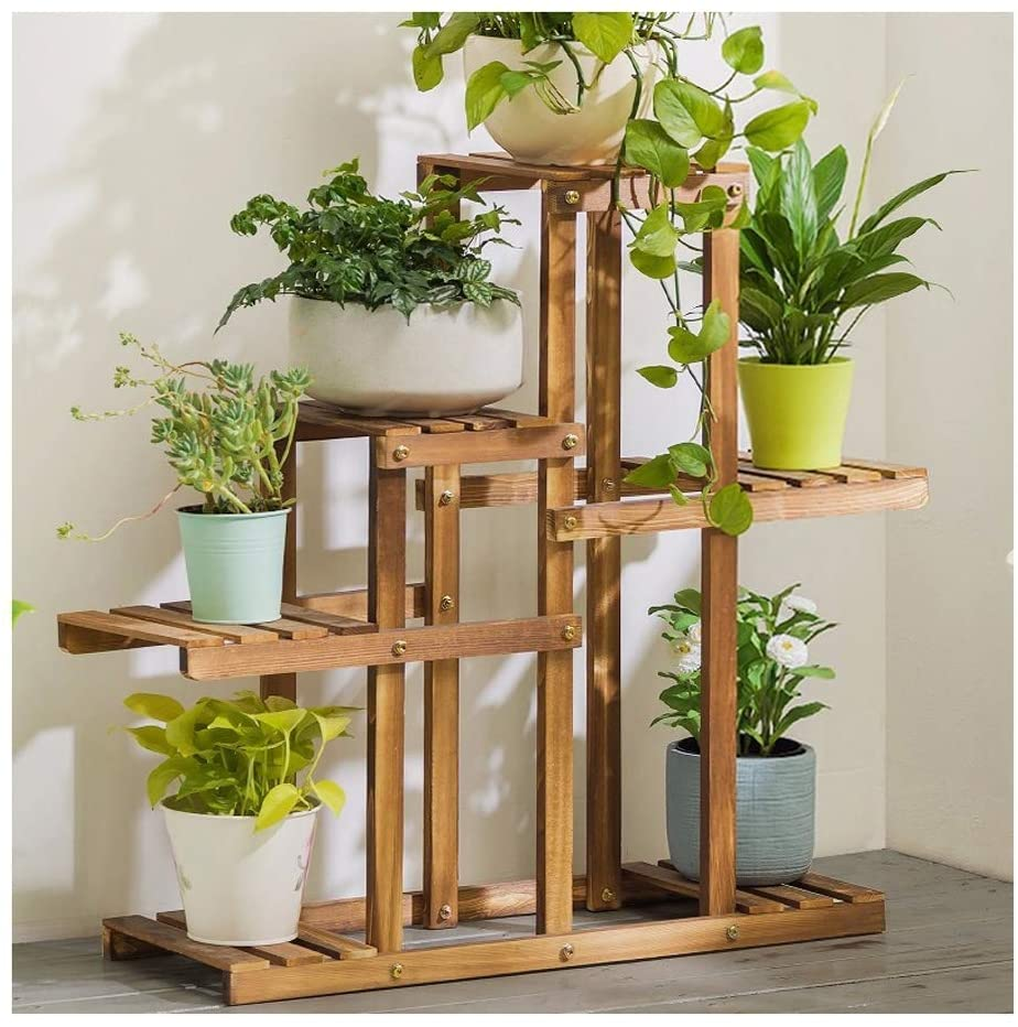 QNN Plant Stands,Solid Wood Balcony Floor-Standing Flower Stand, Simple Living Room Solid Wood Multi-Layer Thick European-Style Flower Pot Storage Rack Rack Decorative Flower Pots