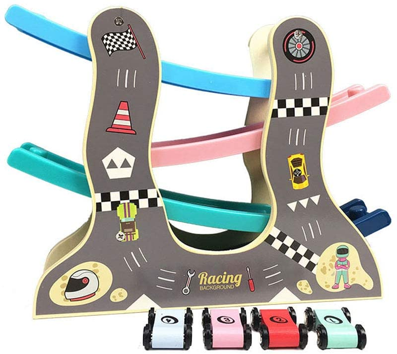QREZ Ramp Racer Track Toy for Toddlers Educational Toys Car Ramp Toy with 4 Cars for 1 2 Year Old Boy and Girl Gifts