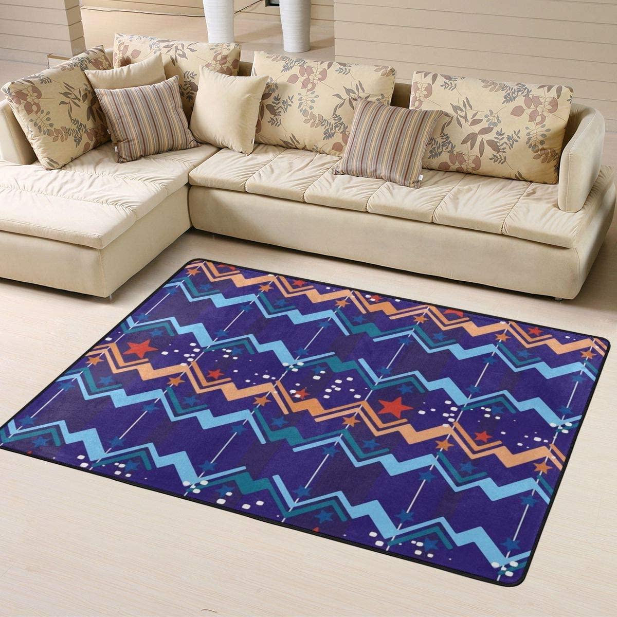 Area Rug Stars and Stripes Carpets Floor Front Door Mat Doormats for Kids Room Boys Room Home Decorative