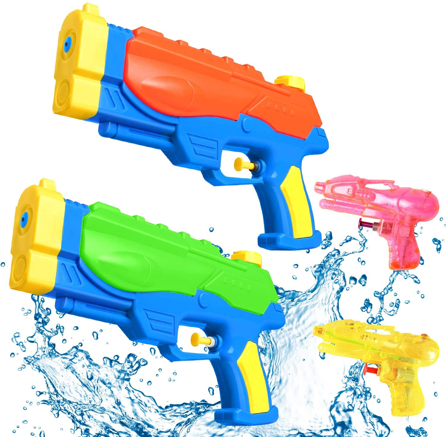 Water Gun with Mini Squirt Gun,Icnice 2 Pack High Capacity Water Blaster Long Range Water Gun for Kid Swimming Pool Party and Outdoor Activity Summer Beach Water Fighting Toys