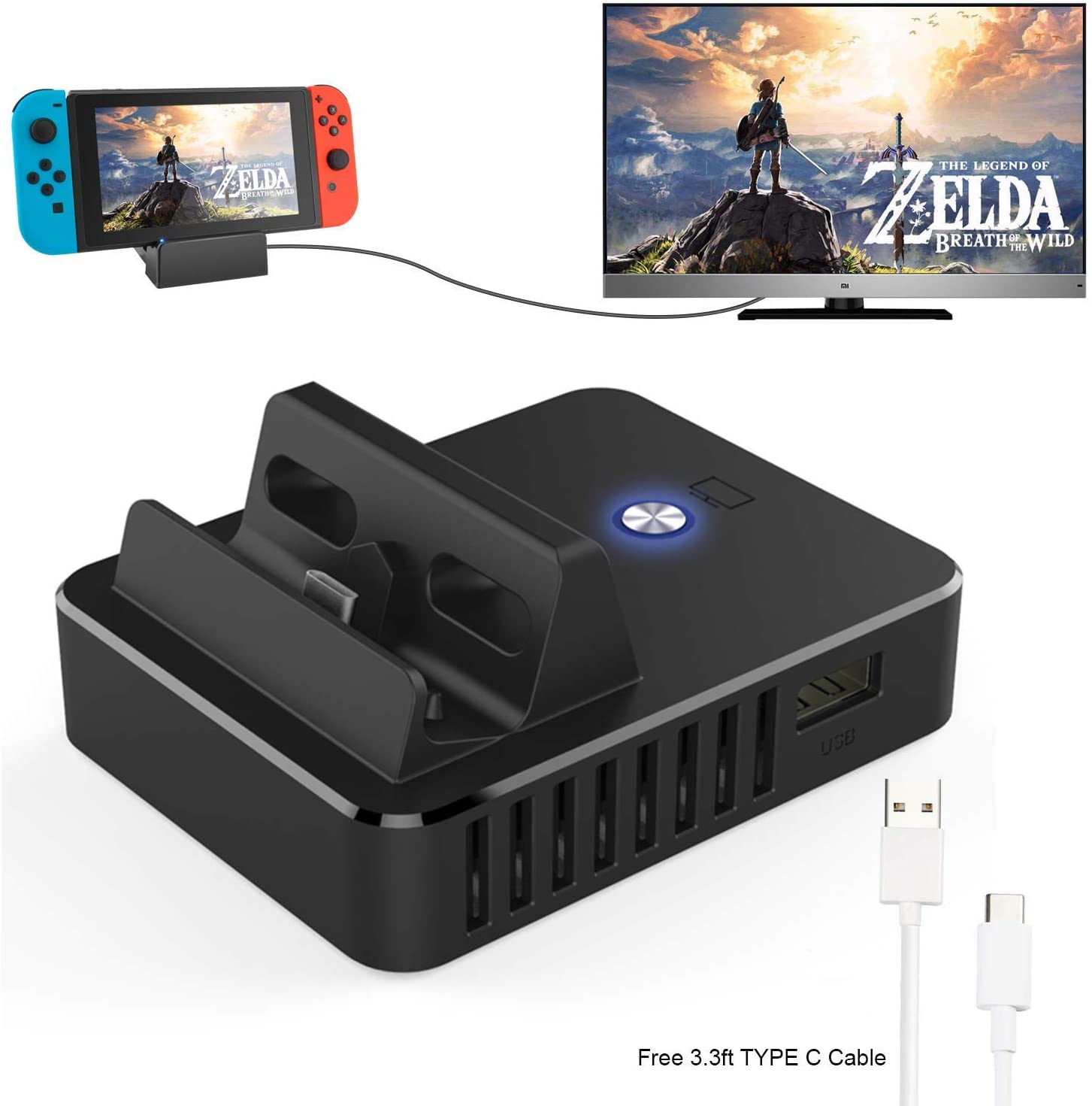Switch TV Dock, Portable Mini Charging Stand for Nintendo Switch,Compact Switch to HDMI Adapter,Mini Switch Docking Station with Extra USB 3.0 Port, Replacement Charging Dock for Nintendo Switch