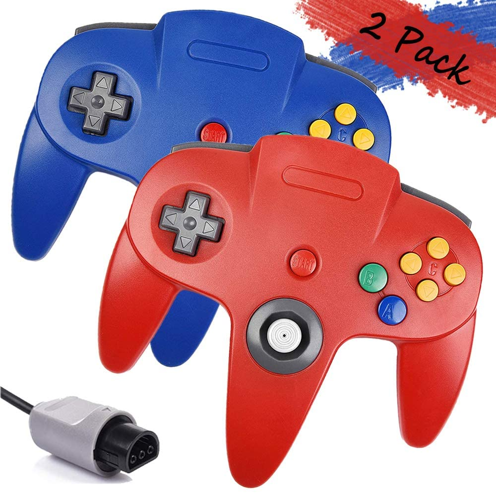 2 Pack N64 Controller, BOHASH Wired N64 Controller Upgraded Joystick Gamepad Controller for Original Nintendo 64 Console (Blue and Red)