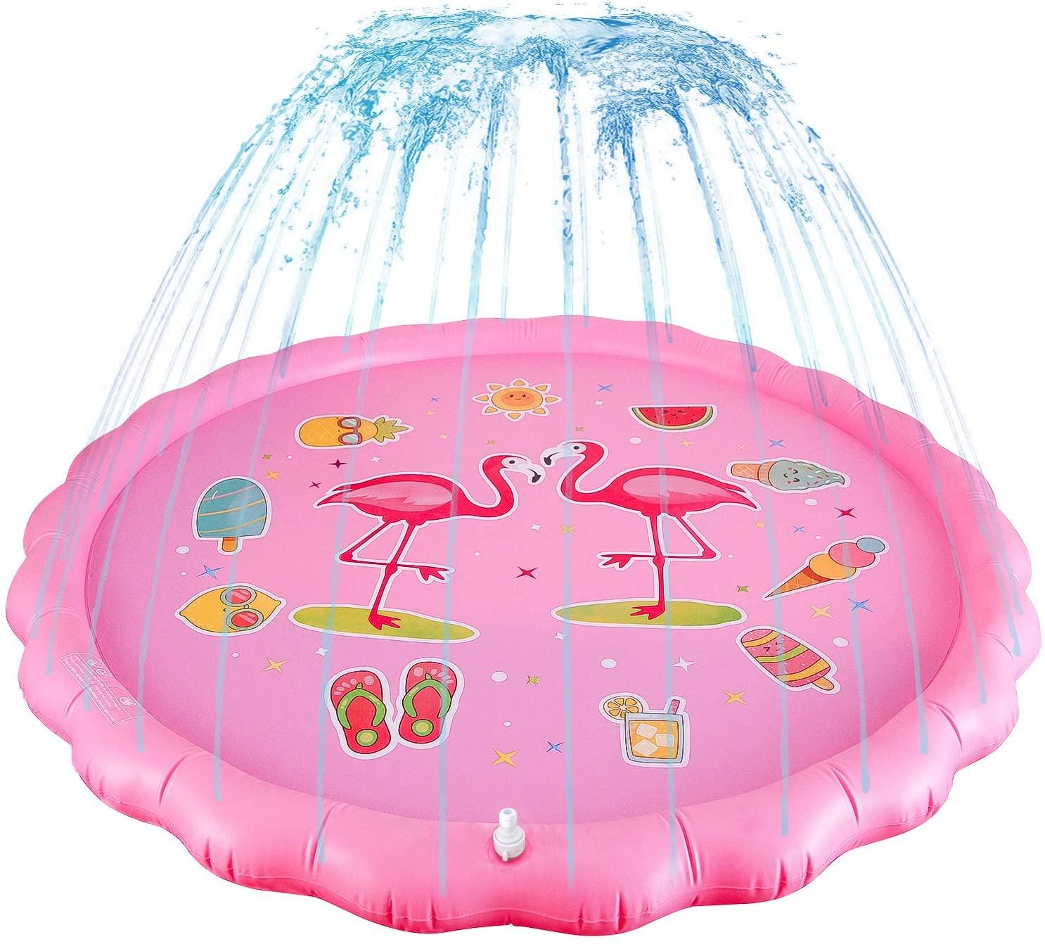 MissShorthair Summer Splash pad Large Water mat Outdoor Play Sprinkler for Kids