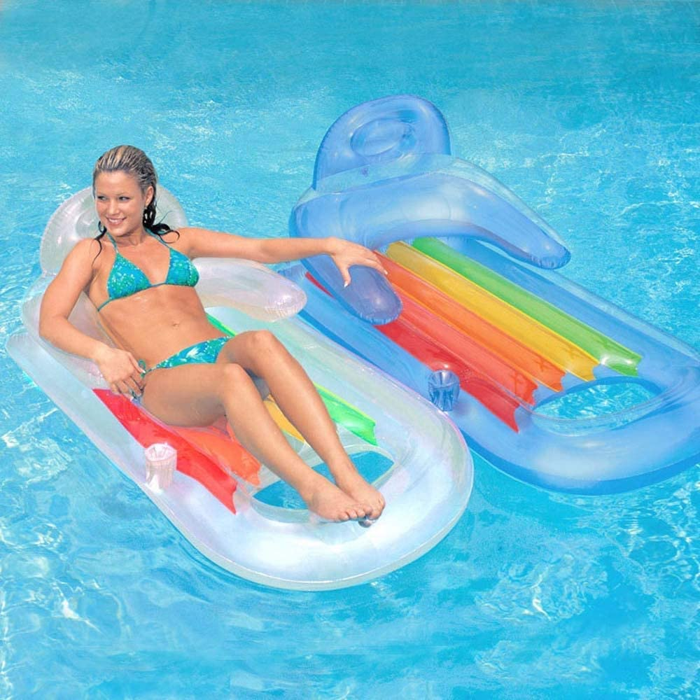Waitousanqi Inflatable Floating Bed Water Swimming Ring, Armrest Backrest Luxury Floating Row, Adult Seaside Surfing Toy 160 85cm Q65 ( Color : Blue )