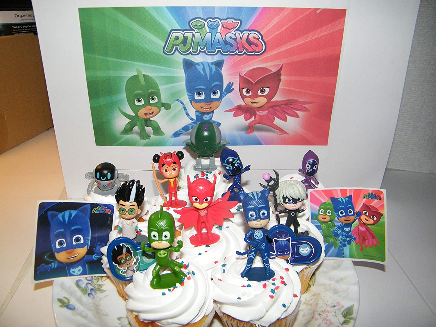 PJ Masks Deluxe Cake Toppers Cupcake Decorations 14 Set with 10 Figures, 2 Decorative Stickers Featuring Gekko, Owlette, Catboy, Yu, Night Ninja, Robot and More!