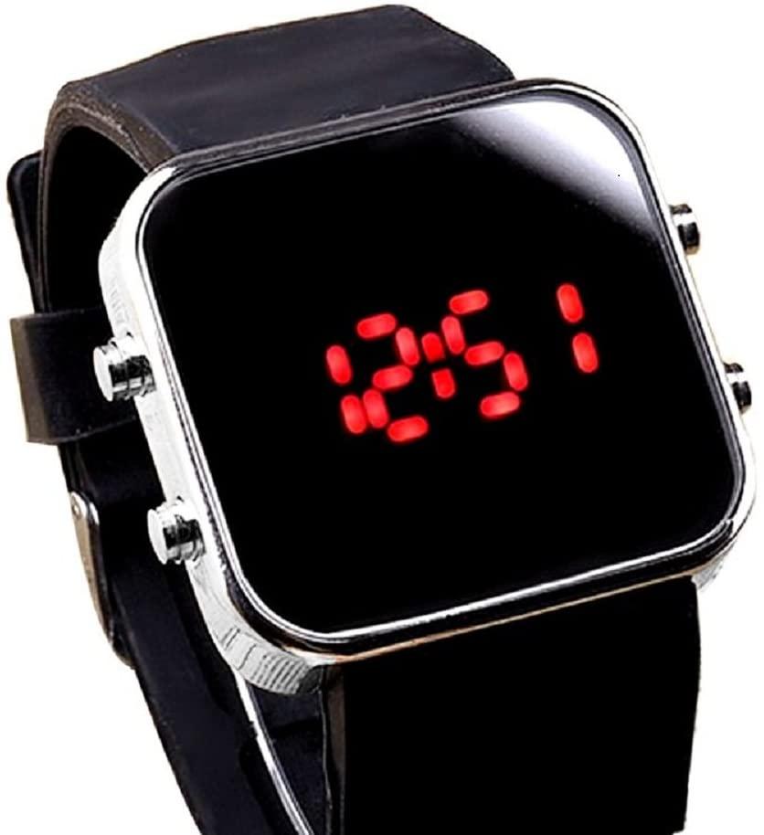 AmyDong Unisex Flat Mirror LED Watch