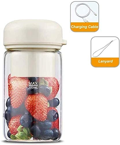 HAODAMAI Travel Juicers 500Ml High Capacity Mixer Electric Smoothie Fruit Blender Personal Portable Juicer Cup BPA Free For Home Outdoor Sports 15.6X7.8cm (Color : White)