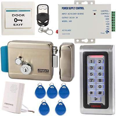 Access Control System Kit Stand-Alone RFID Keypad Reader Electric Lock Doorbell