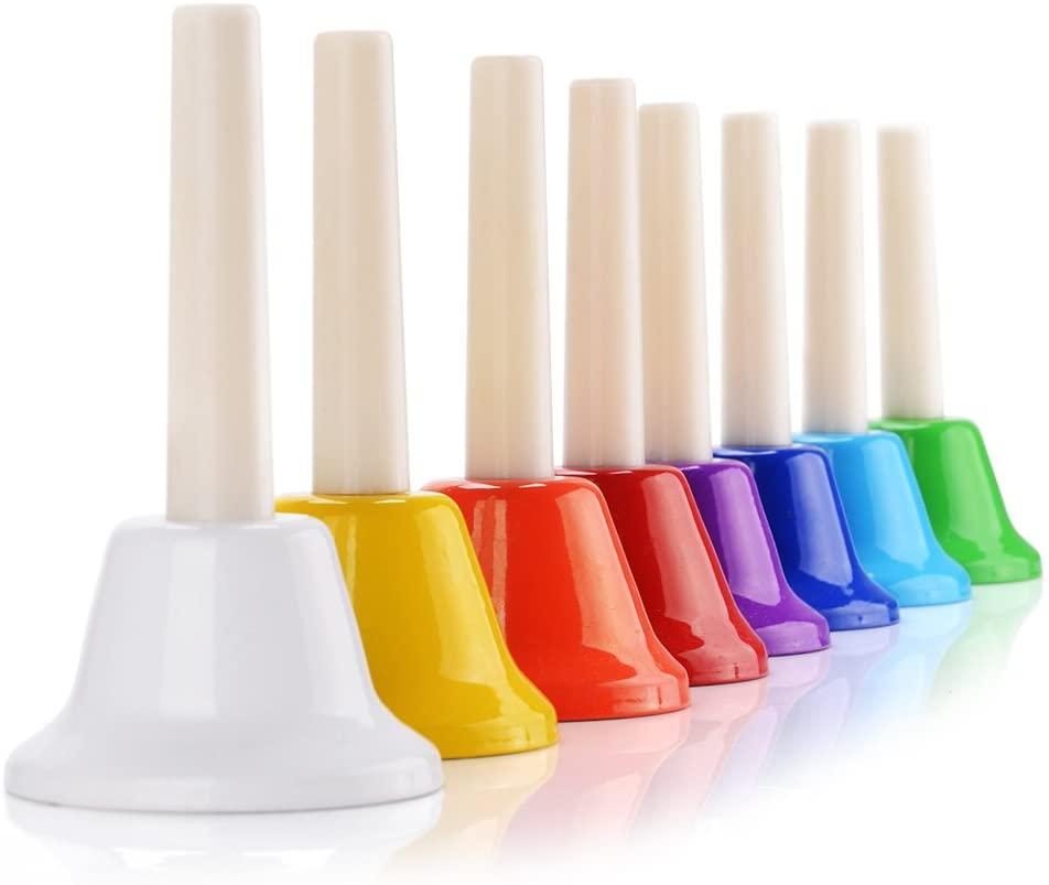 Lightwish Vangoa Hand Bells Set Colorful 8 Note Handbells Diatonic Metal Musical Toy Bells for Kids Toddlers Children Teaching Church Chorus Wedding Family Party