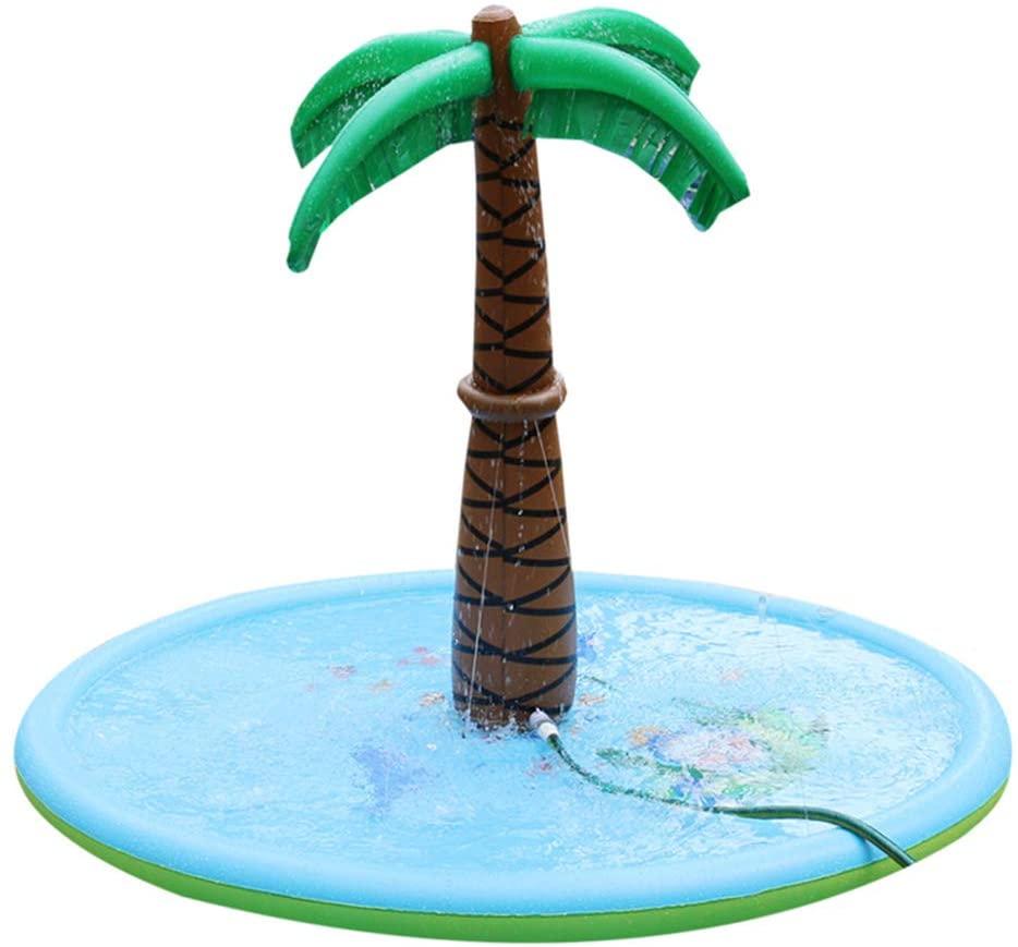 Water Spray Mat Inflatable Coconut Tree Sprinkle Pad Outdoor Backyard Party Sprinkler Splash Play Mat Children Kids Toys
