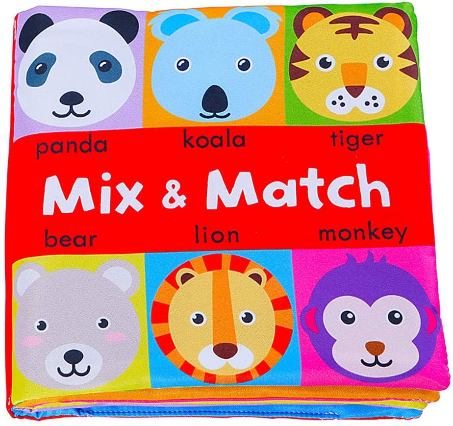 Kiorc Baby Kids Mix and Match Cloth 3D Animal Book Soft ActivityEarly Education Toy, Learning Education Toys Games, Sports Outdoor Play