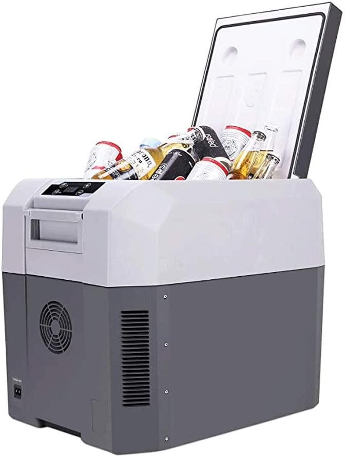 HELIn Car Refrigerator - Mini Portable Compact 12V Portable Electric Cooler for Car Truck Compact Portable Cooler Warmer Mini Fridge