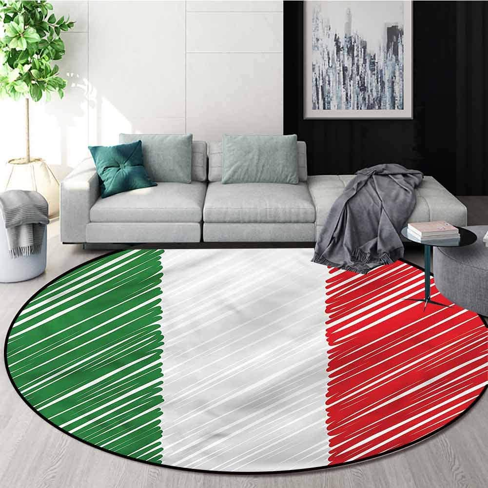 RUGSMAT Italian Flag Anti-Skid Area Rug,Parallel Abstract Line Foam Mat Living Room Decor Round-51