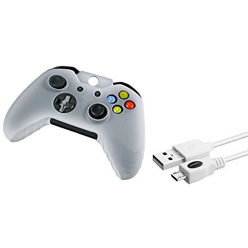 White 10FT Micro USB Data Cable Charger+White Skin Case for Microsoft xBox One