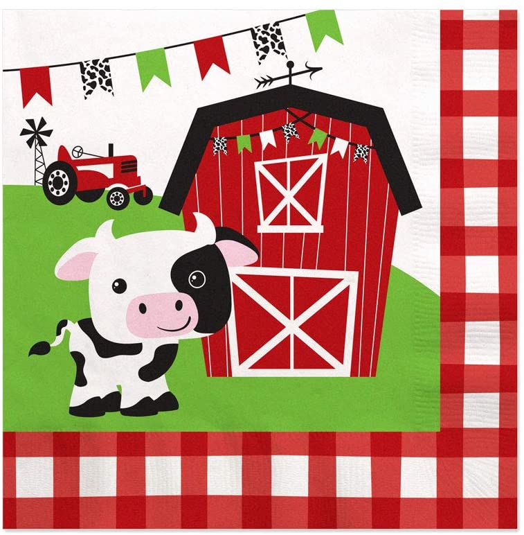 Big Dot of Happiness Farm Animals - Barnyard Baby Shower or Birthday Party Cocktail Beverage Napkins (16 Count)