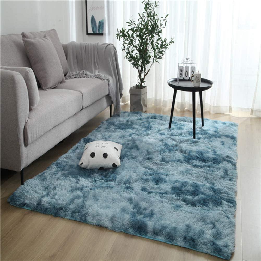 JYMBK Large Shaggy Bedside Area Rug,Modern Super Soft Floor Shaggy Rug,Anti-Skid Tie-dye Fluffy Hallway Rugs,Comfy Furry Carpet for Bedroom Kids Room Dark Blue 120x160cm(47x63inch)