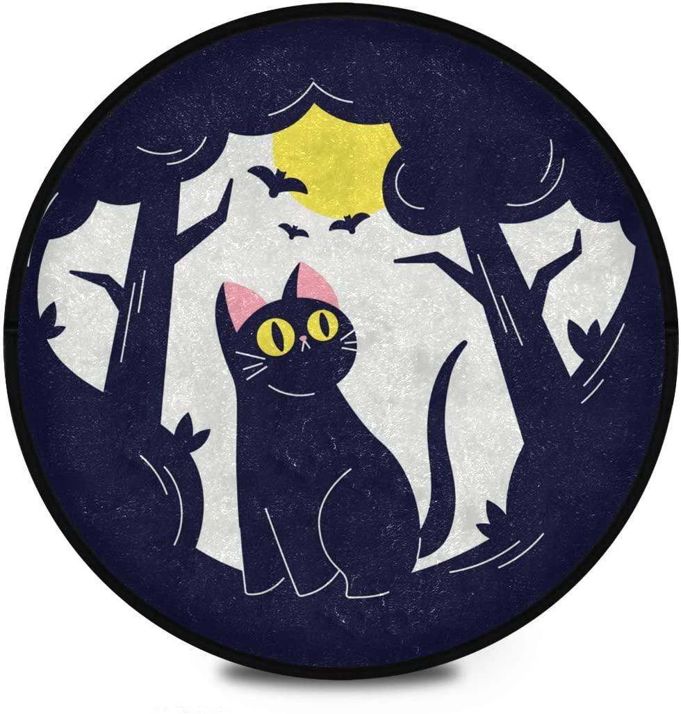 Halloween Shaggy Round Mat Happy Halloween Cat Circular Carpet for Kids Chairs Anti-Slip Rug Room Carpets Play Mat