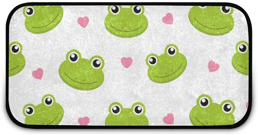 Rectangle Shaggy Rug Kitchen Carpets and Rugs for Kids Cute Frogs with Hearts Inside Floor Anti-Slip Rug Rectangle Carpet Play Mat