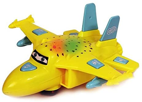 Dazzling Toys Toy Airplane Bump n' Go Action Toy Plane Vehicle with Sounds and Lights and More Fun Functions