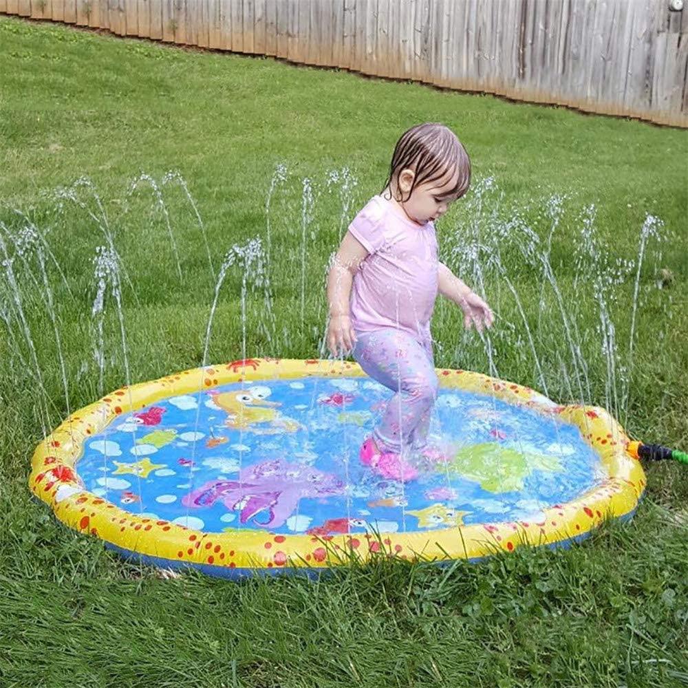WE&ZHE Sprinkler for Kids,100CM Diameter Splash Pad,Wading Pool for Learning,Children's Sprinkler Pool,Outdoor Swimming Pool for Kids,Baby,Pet